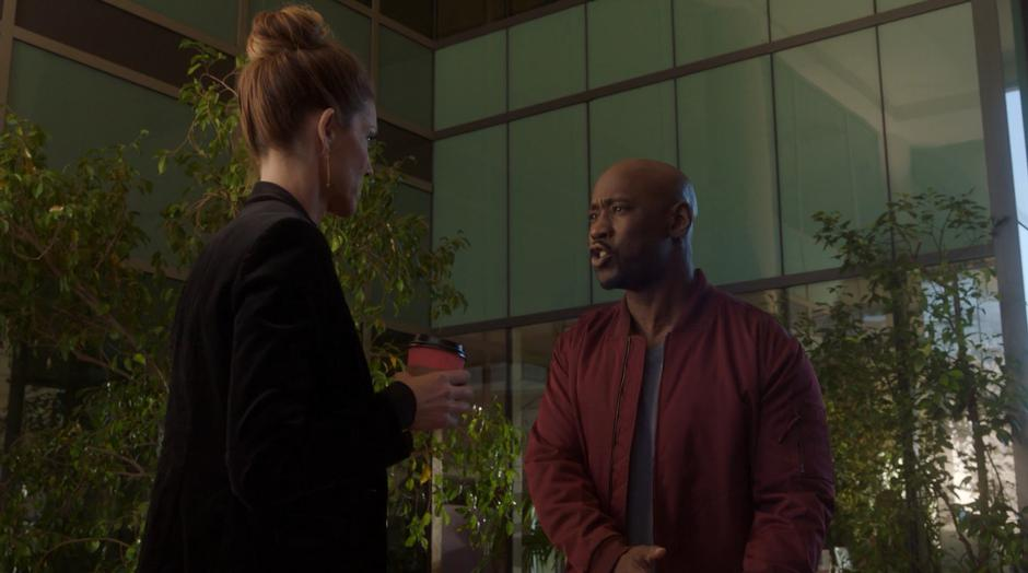 Amenadiel asks Charlotte what she is doing back on Earth.
