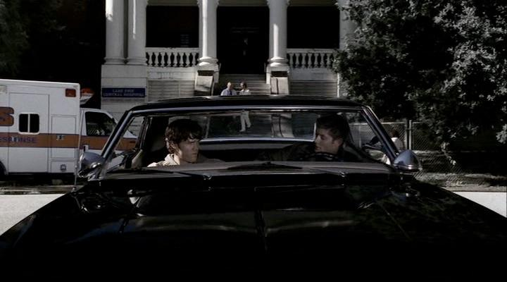 Sam & Dean discuss their upcoming case in their car outside the hospital.