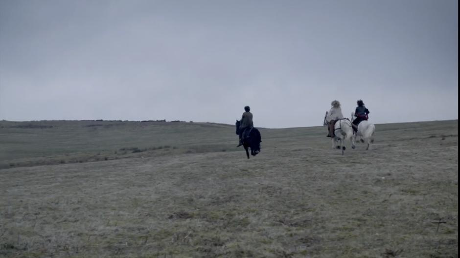Amy, River, and the Doctor ride towards Stonehenge.
