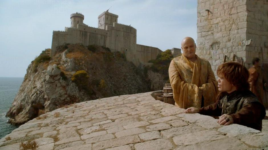 Tyrion and Lord Varys talk about the defense of the city. Fort Lovrijenac can be seen in the background.