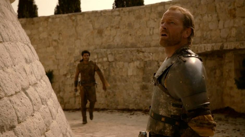 Ser Jorah and Kovarro try to figure out how Daenerys disappeared.