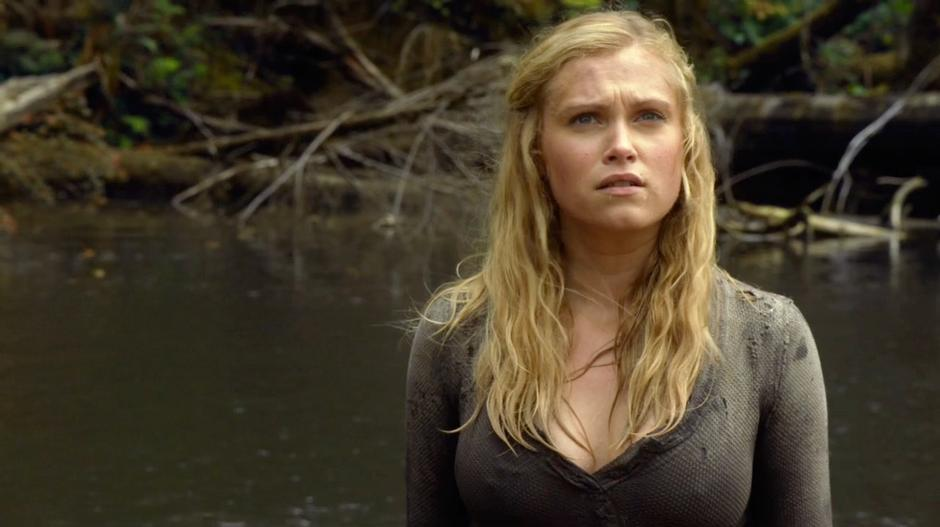 Clarke looks up at the sound of fleeing birds.
