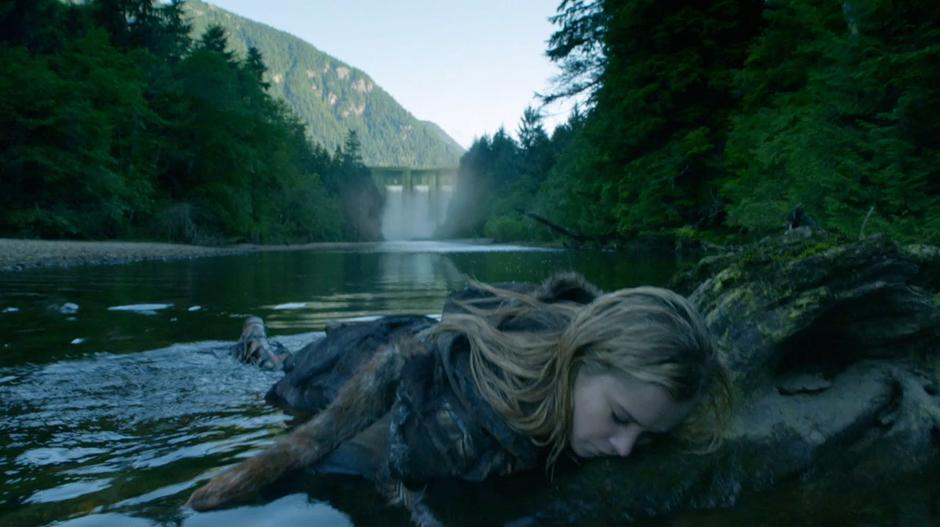 Clarke lies washed up on a rock in the river below the dam.