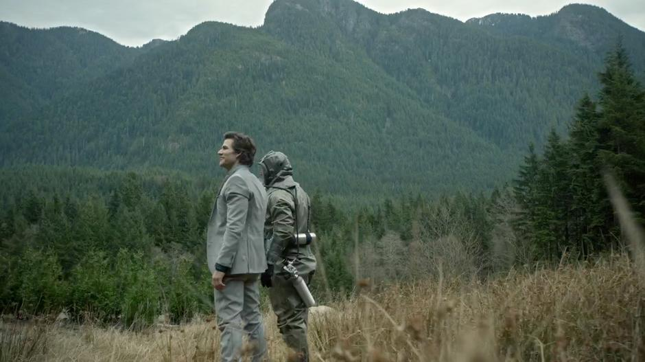 Carl Emerson and Cage Wallace admire the beautiful landscape.