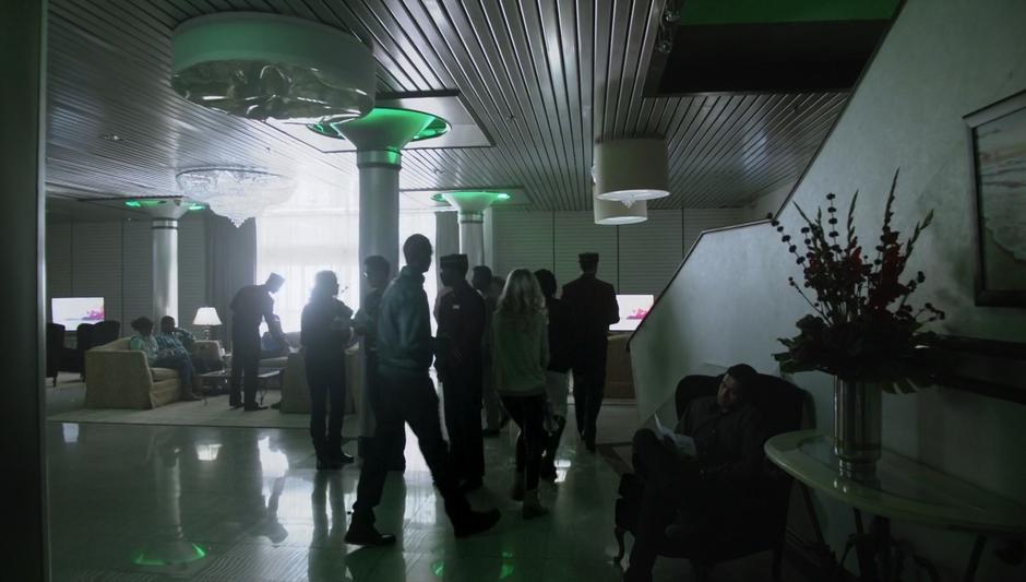 People mill around the lobby of the very nondescript-looking Underworld lobby.