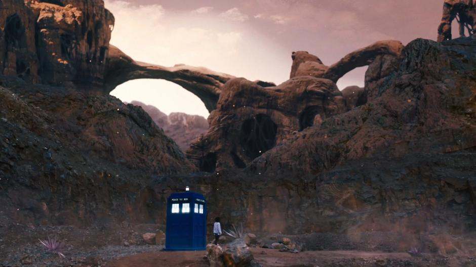 Bill exits the Tardis and looks around the strange alien landscape.