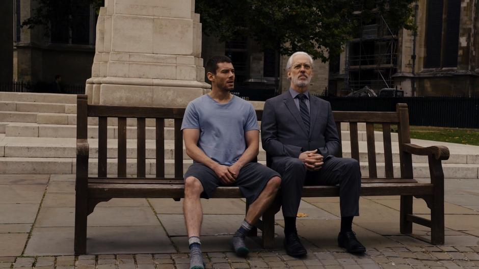 Will appears next to Whispers on a bench in front of a statue.