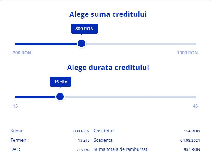 Ferratum Bank - alege suma creditului