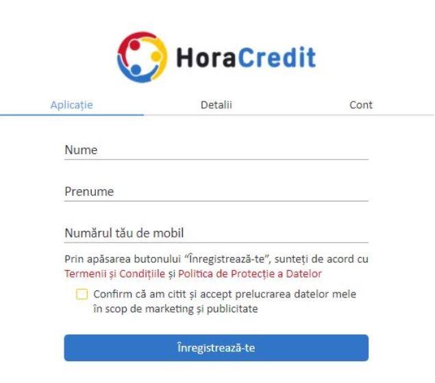 hora credit - formular cu date de contact