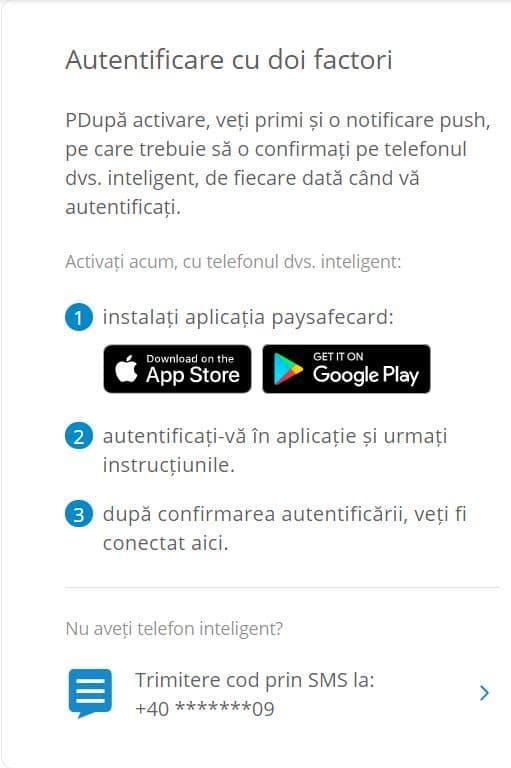 paysafecard - autentificare cu doi factori
