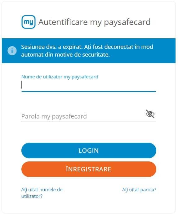 paysafecard - autentificare