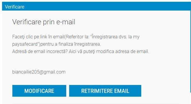paysafecard- verificare prin email