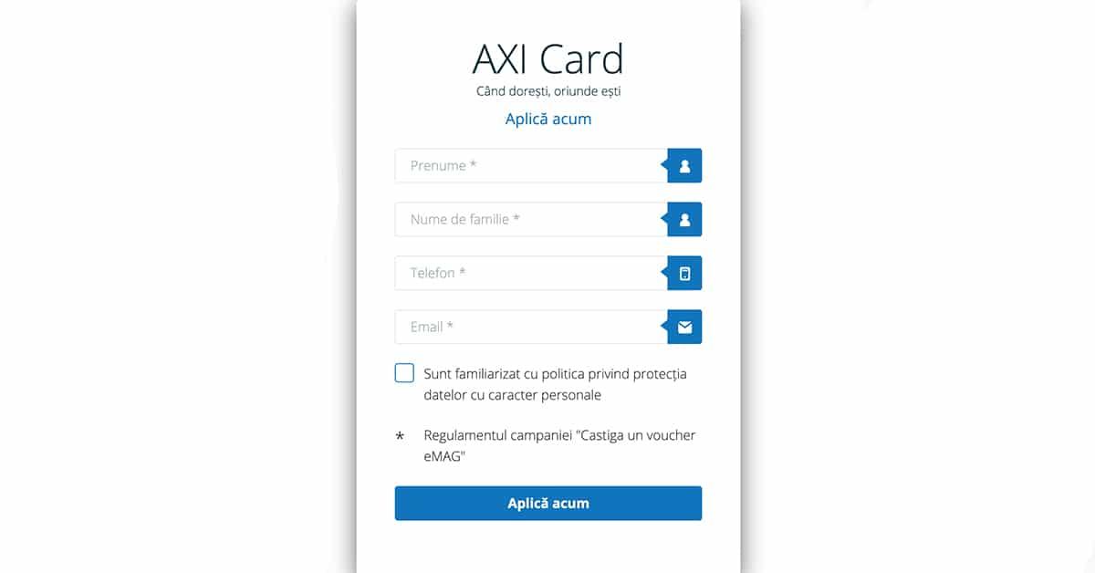 axi card - formular
