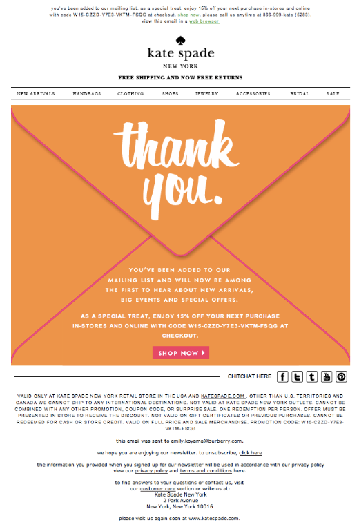 Image of a Kate Spade email campaign