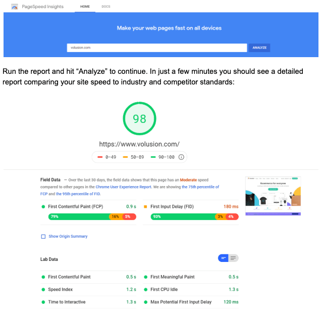 Image of Google PageSpeed Insights dashboard
