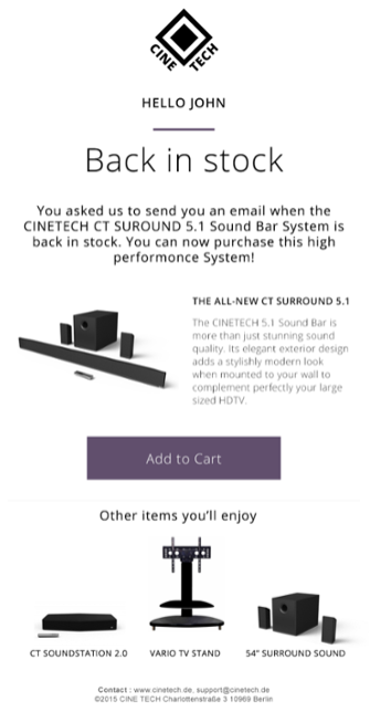 Image of an email showing that an item is back in stock