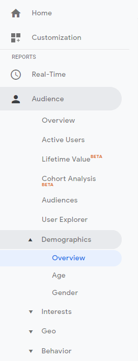 Image of Google Analytics Navigation Menu
