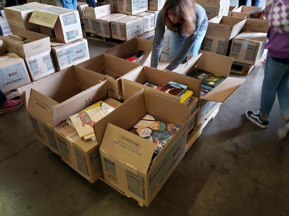 Image of Discover Books donation boxes.