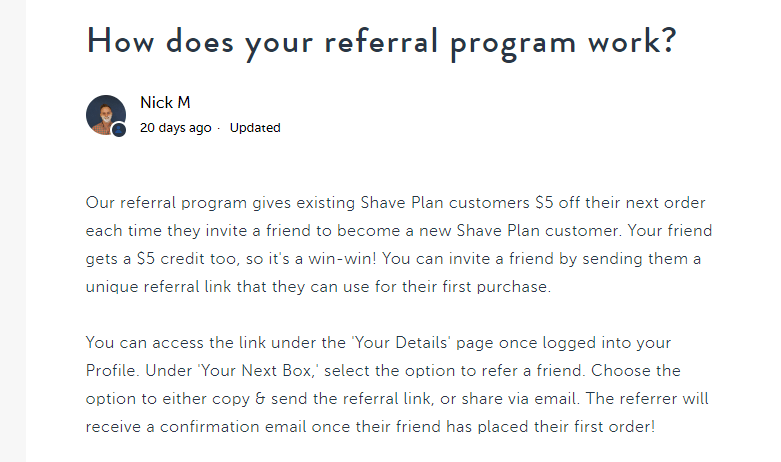 Screenshot of Harry's referral program FAQs page.