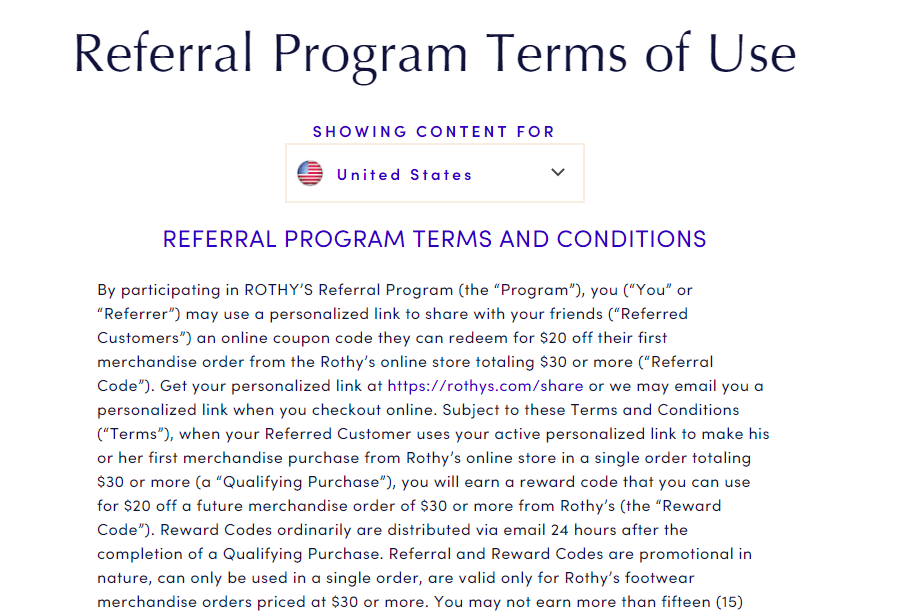Screenshot of Rothy's referral program terms of use.