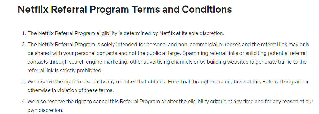 Screenshot of Netflix's referral program terms and conditions page.