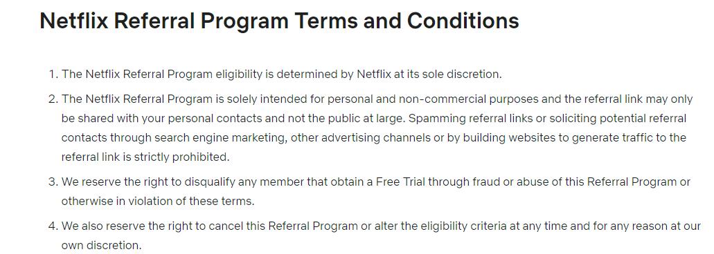 Screenshot van de pagina met algemene voorwaarden van het verwijzingsprogramma van Netflix.