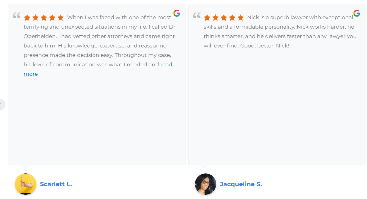 Image of Google reviews embedded on a website.