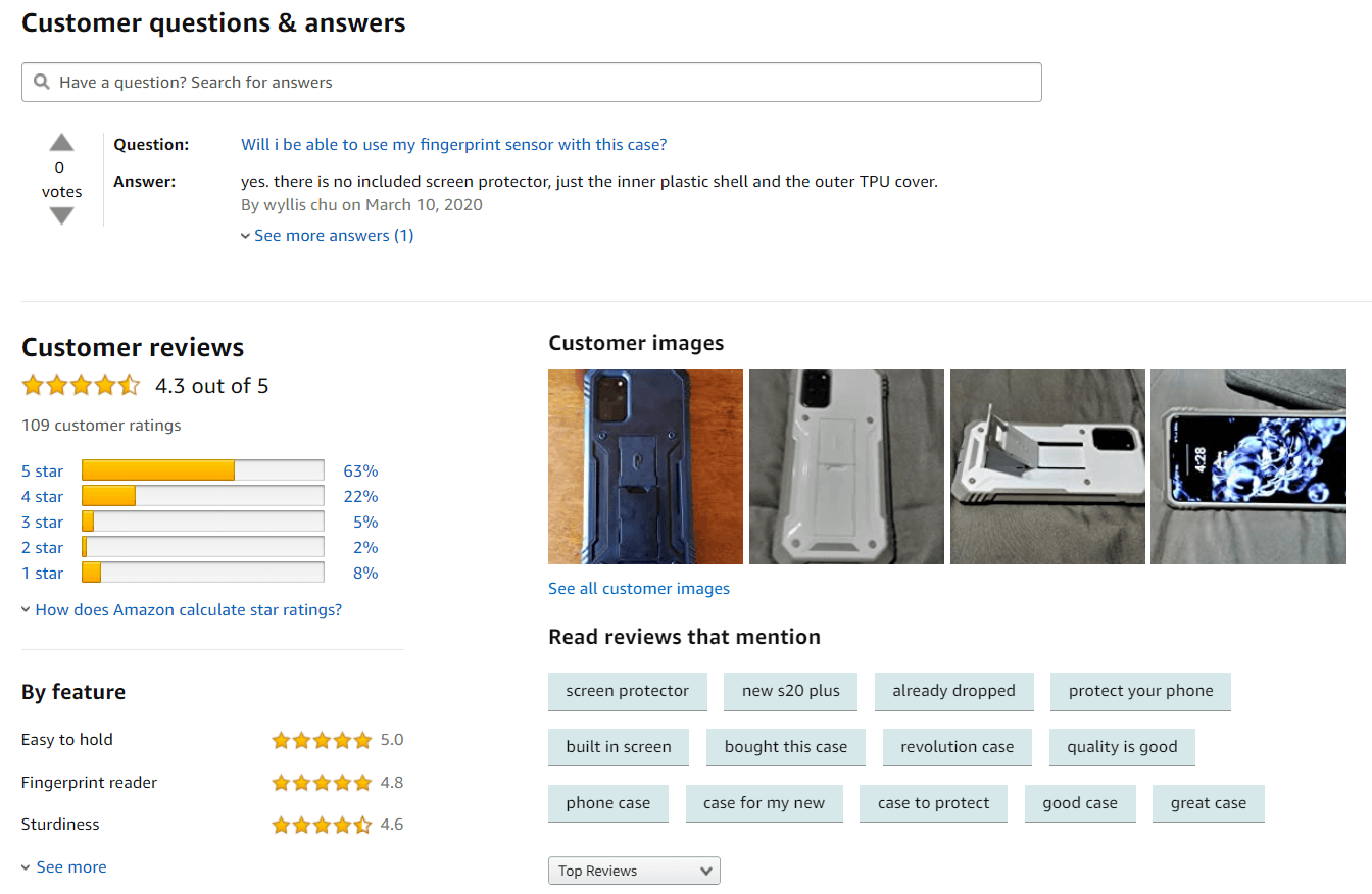 Screenshot of product reviews on Amazon.