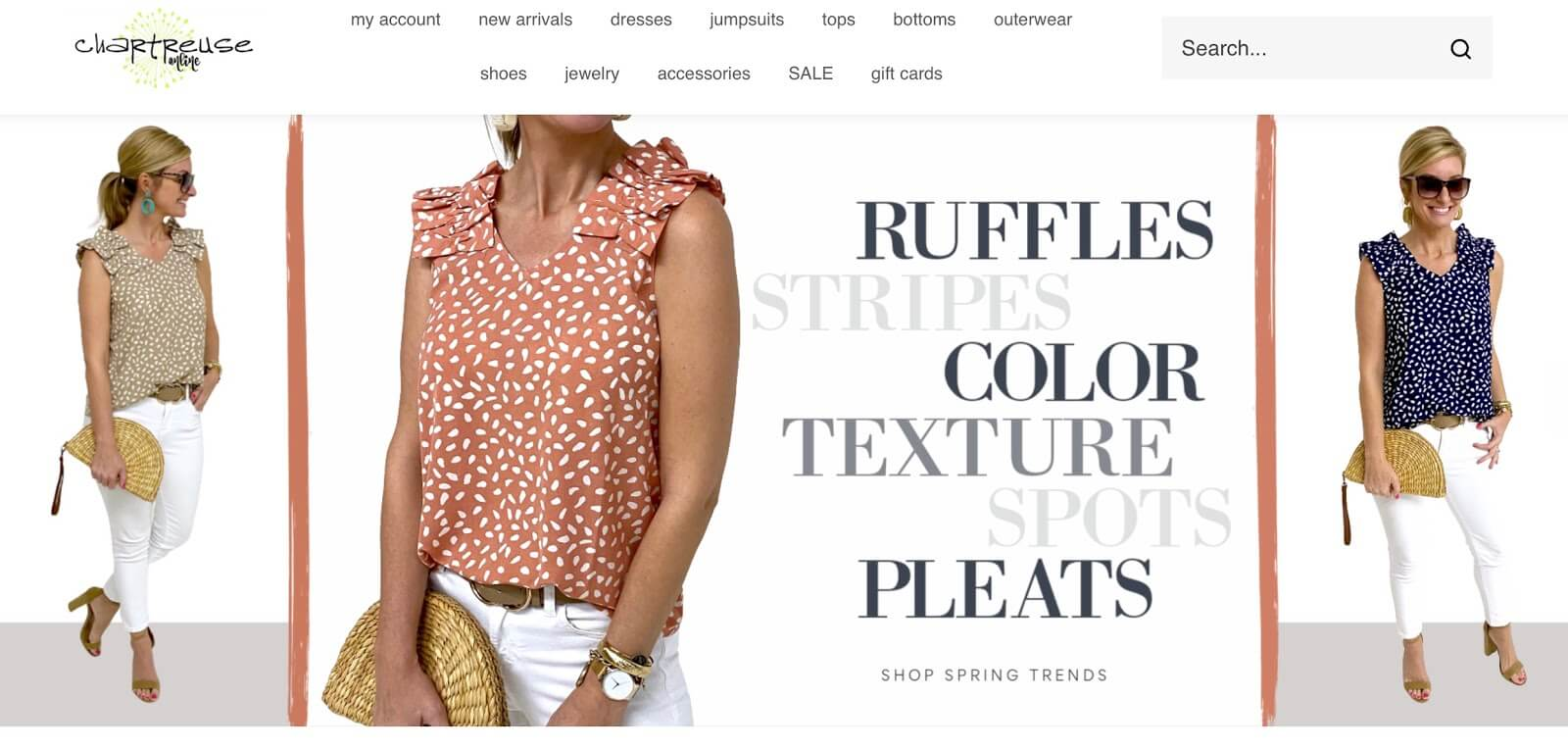 Screenshot of Chartreuse Boutique's online store through Volusion.