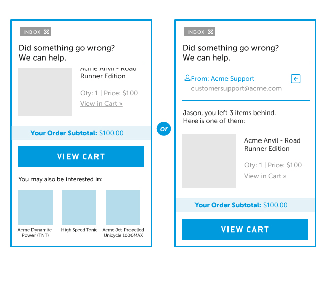 Image of two slightly different email templates.