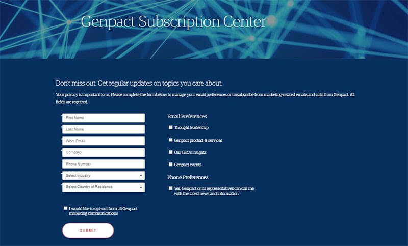Screenshot of Genpact's email subscription center.