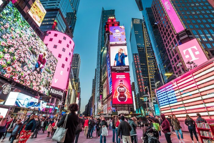Image of advertisements in Times Square.