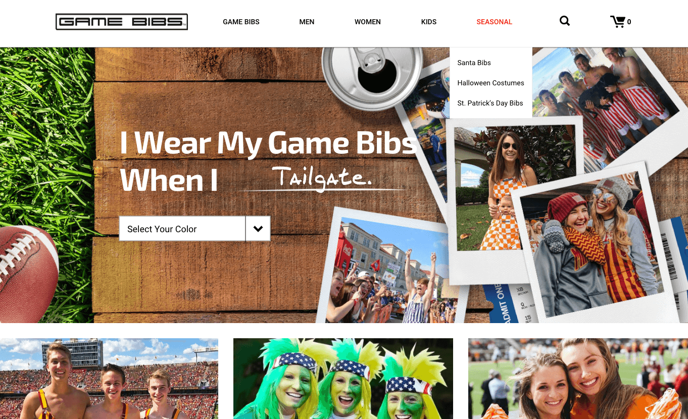 Image of Game Bibs ecommerce site.