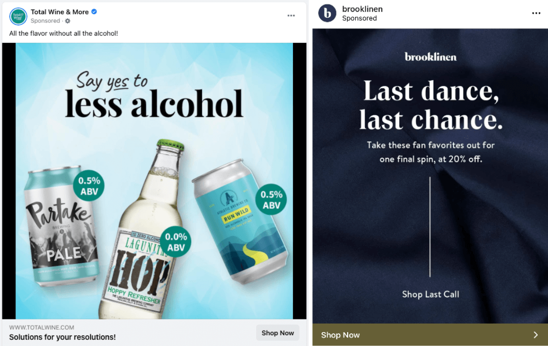 Example of a Facebook Ad and an Instagram Ad.