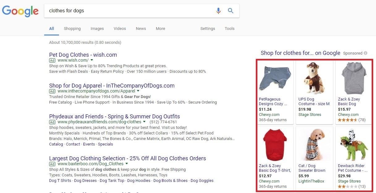 Screenshot of Google Shopping ads.