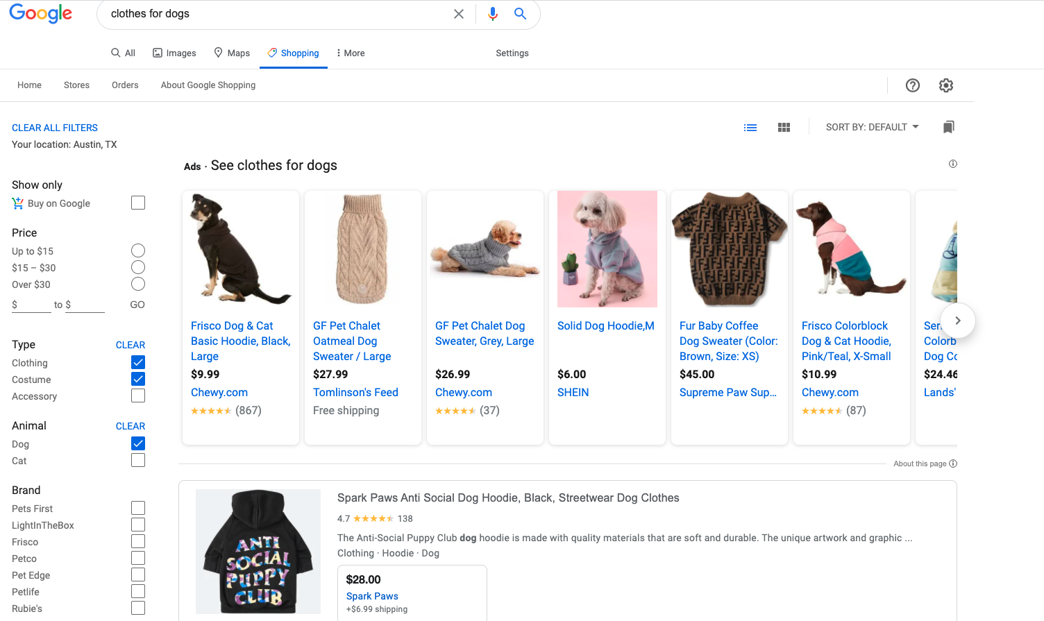 Screenshot of Google Shopping filters.