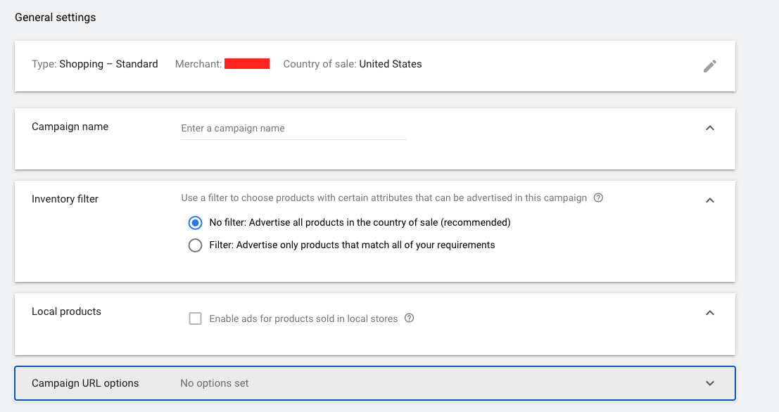 Screenshot of Google Shopping Campaign general settings.