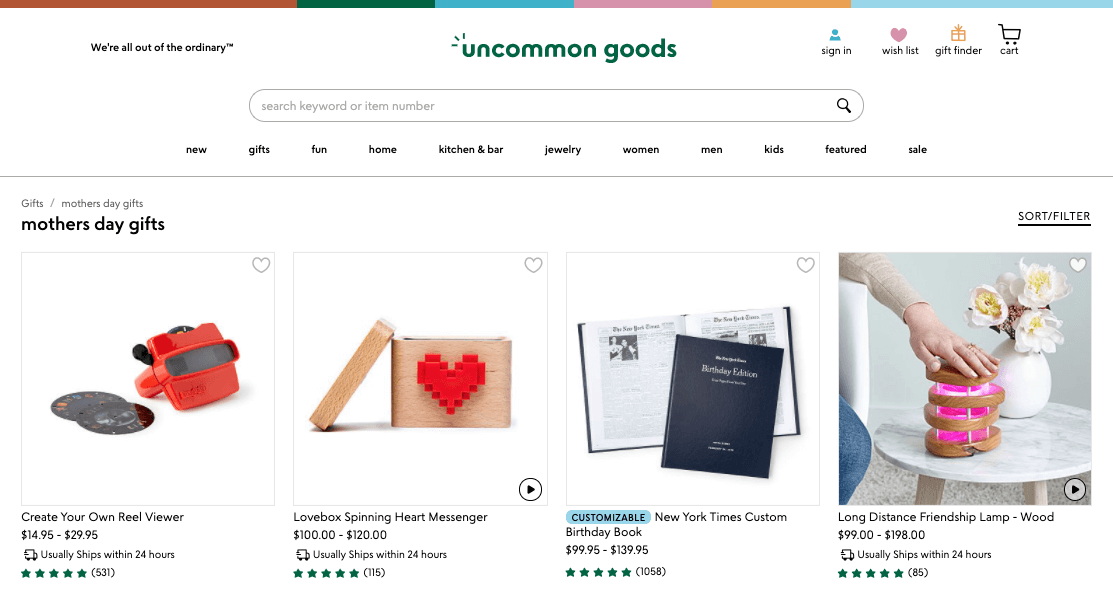 Example of a Mother's Day category page.