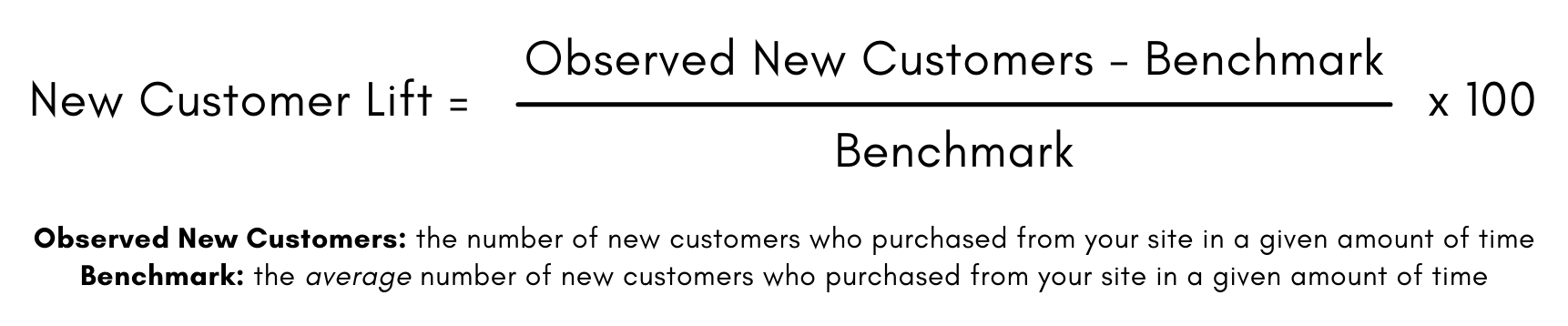 Formula for New Customer Lift: Number of New Customers minus the benchmark, divided by the benchmark, times 100.