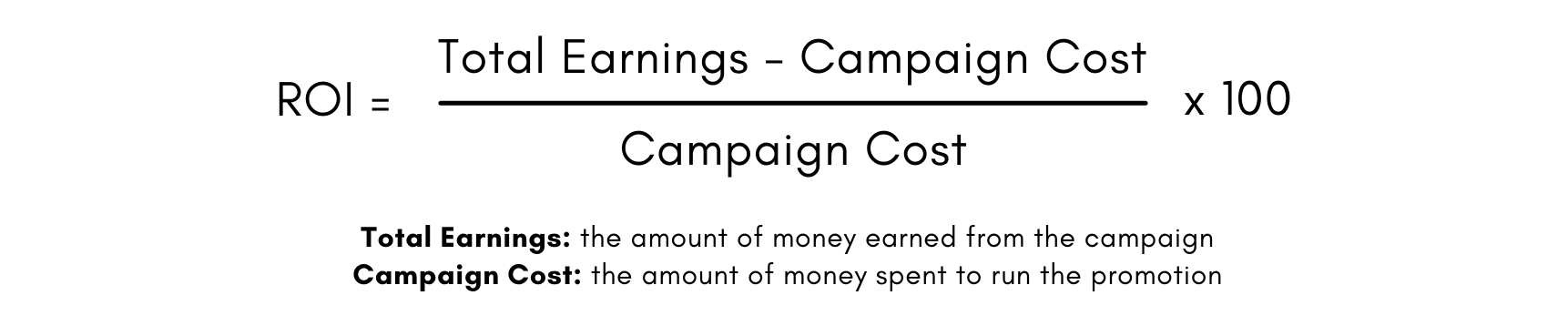 Formula to calculate ROI: total money earned minus overall campaign cost, divided by overall campaign cost, times 100.