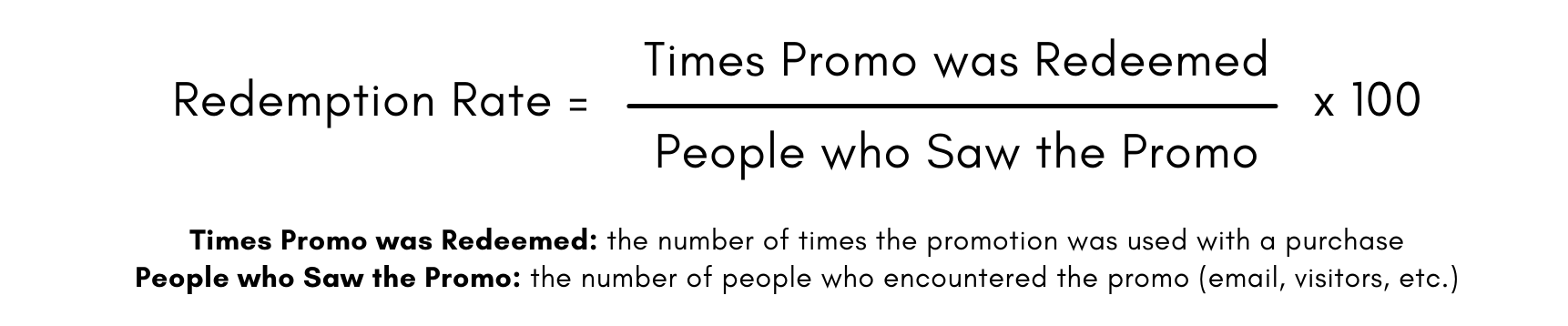 Formula for Redemption Rate: number of times the promo was redeemed divided by the number of people who saw the promo, times 100.