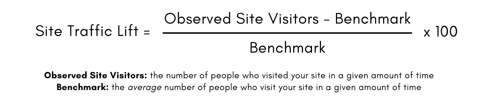 Formula for Site Traffic Lift: Number of Site Visitors minus the benchmark, divided by the benchmark, times 100.