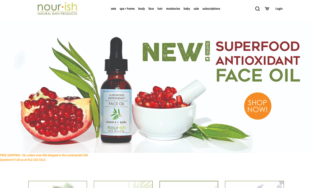 Image of Nourish Natural Bath Products' online store.