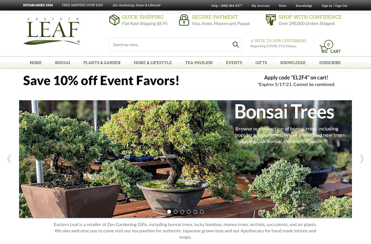 Eastern Leaf's online store.