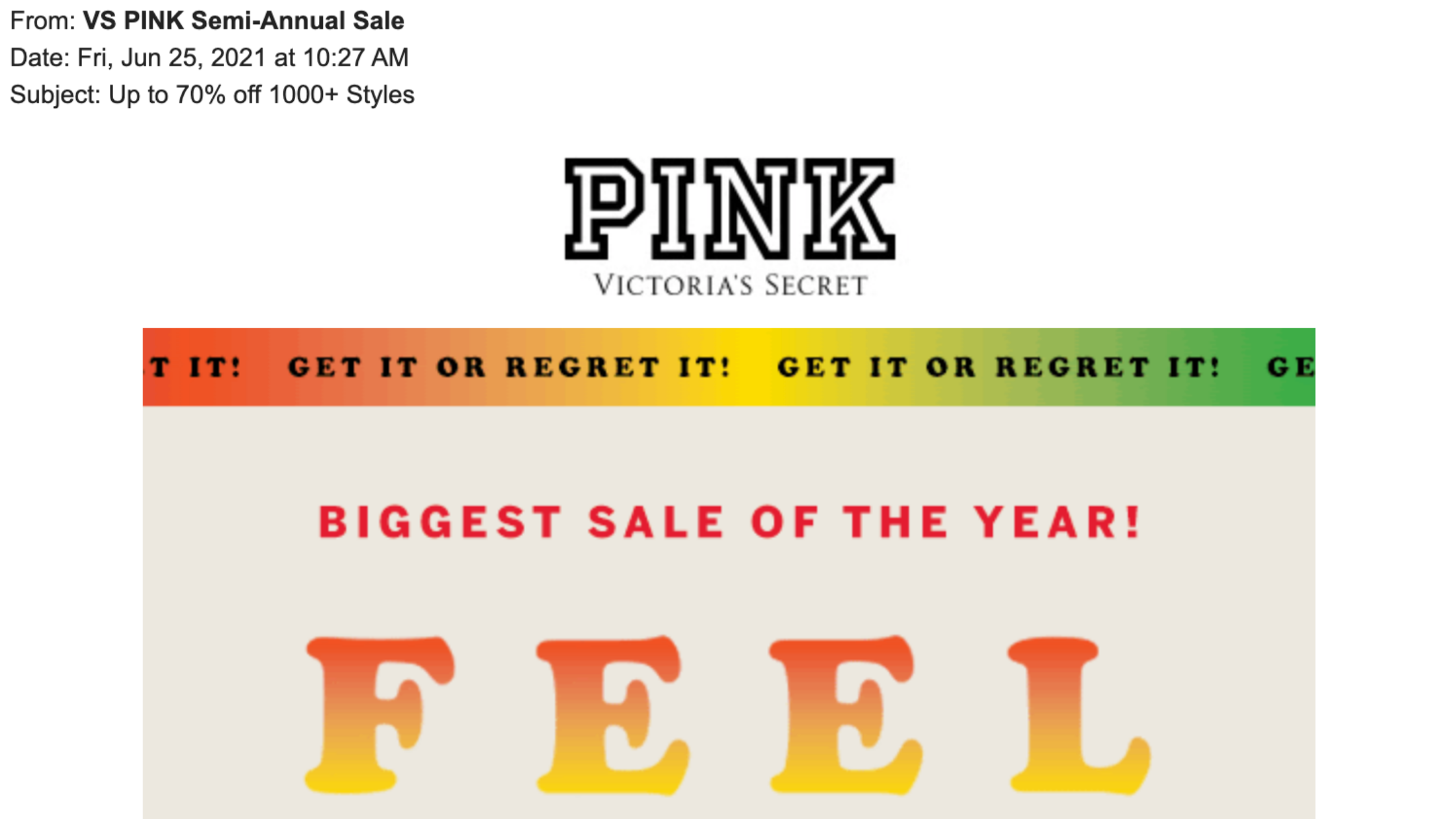 VS PINK Email.