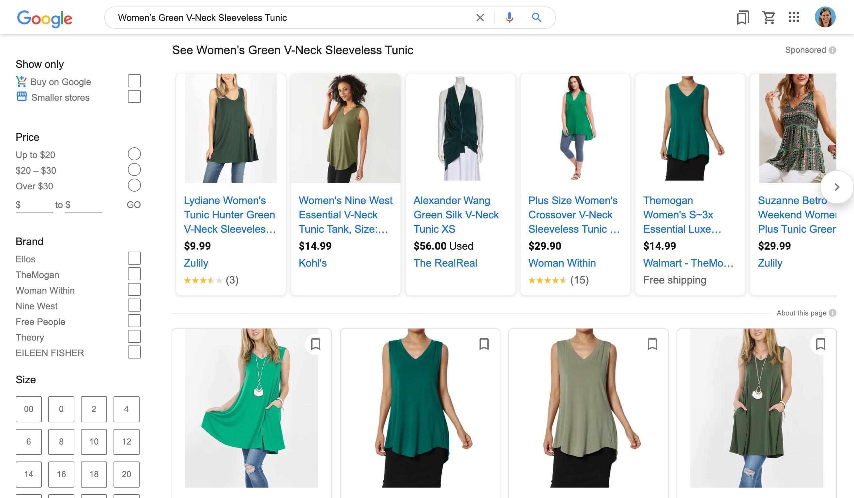Green Tunic Shopping Feeds.