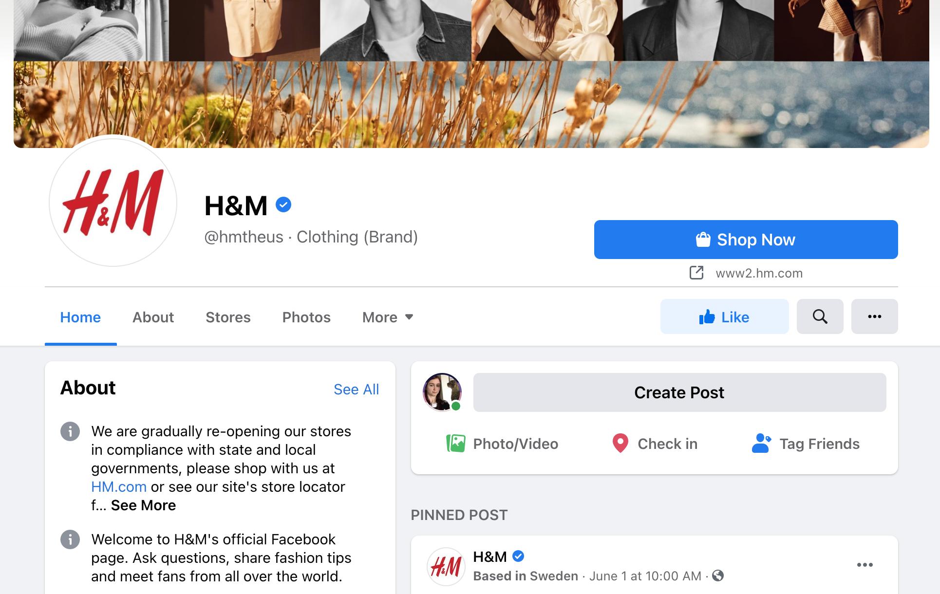 H&M Social Media Page.