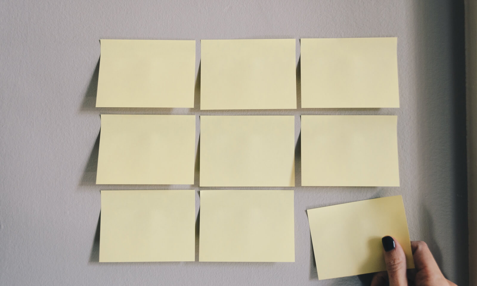 Sticky notes being used to help conduct an ecommerce business plan