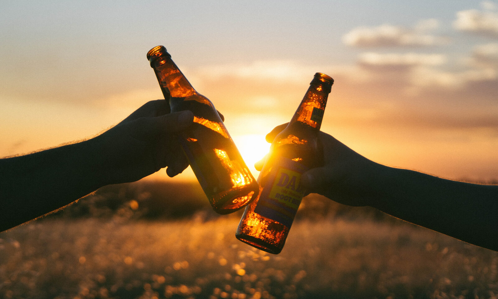 beer bottles clinking together in front of sunset