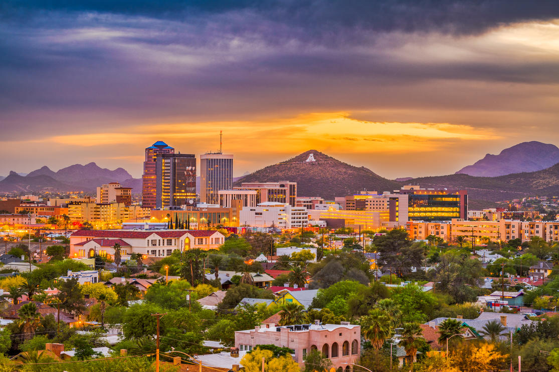 Mountain skyline of Tucson, AZ at sunset